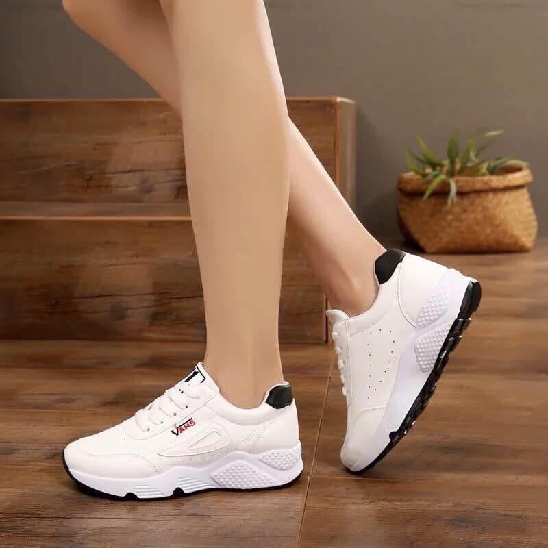 giày thể thao nữ-chữ VAH-trắng đen