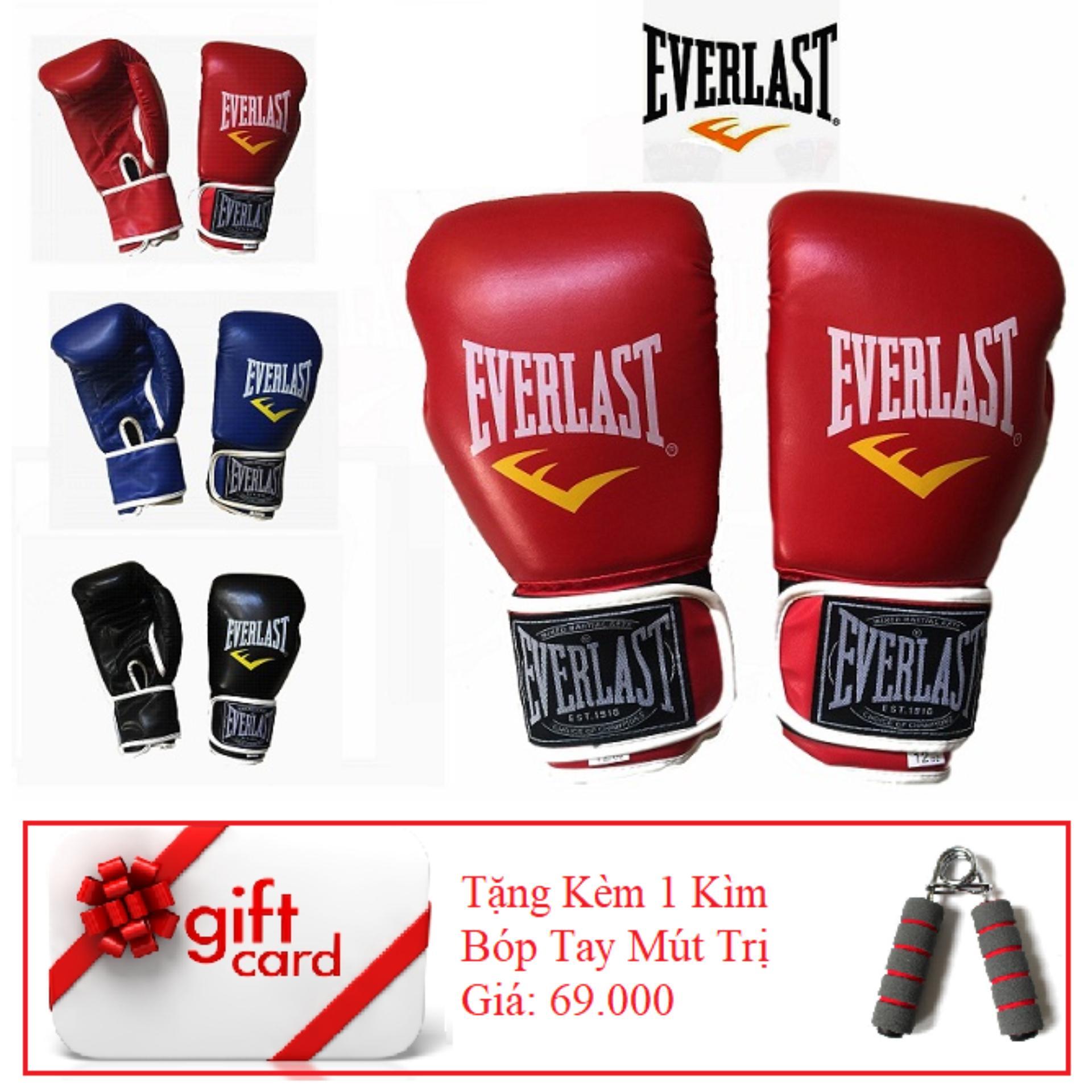 Hình ảnh Găng Tay Tập Boxing Cao Cấp ( Màu Đỏ ) - TiGi Mall - Tặng Kèm 1 Bóp Mút