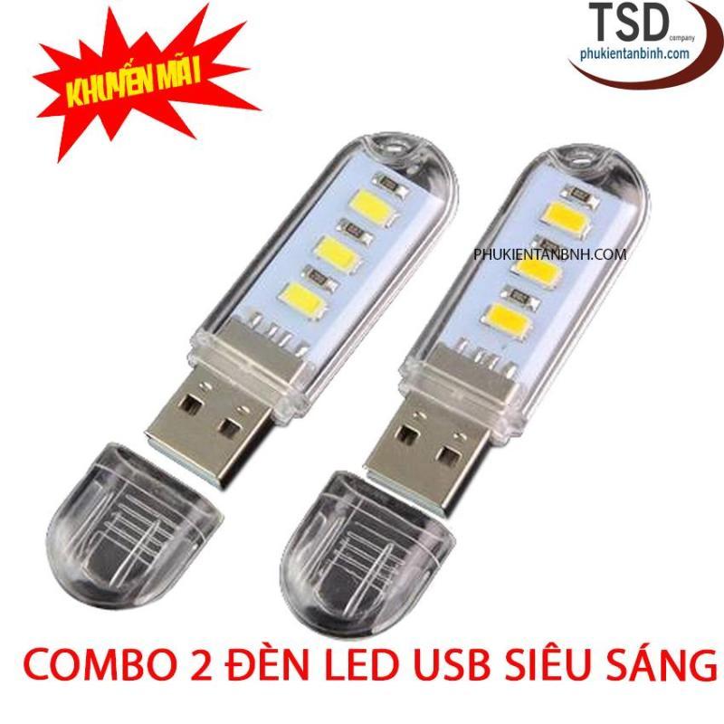 Bảng giá Combo 2 Đèn Led USB 3 Bóng Version 2018 - Đèn Led Siêu Sáng Hình USB Phong Vũ