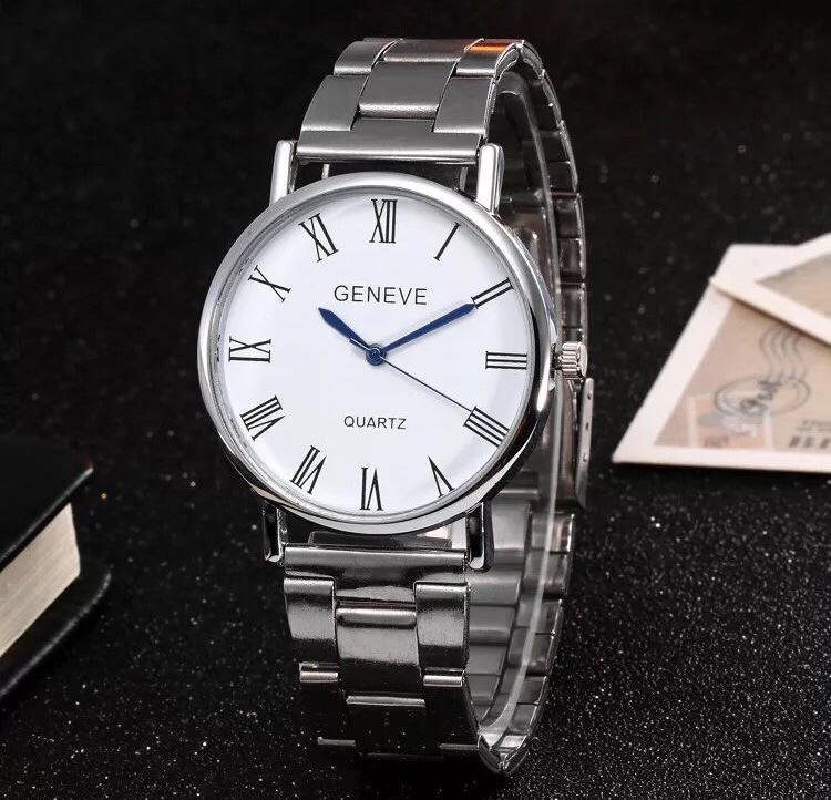 Hình ảnh Đồng hồ nam dây thép giá rẻ Geneve cá tính (Dây Bạc, Mặt Trắng)