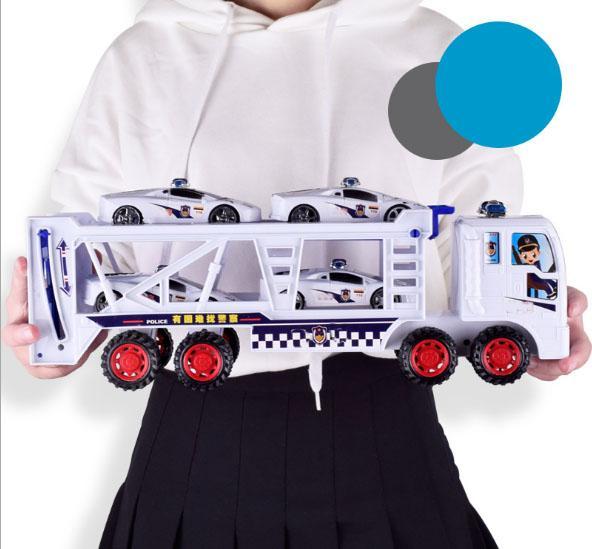Hình ảnh Đồ chơi ô tô container 2 tầng + tặng kèm 4 ô tô cảnh sát