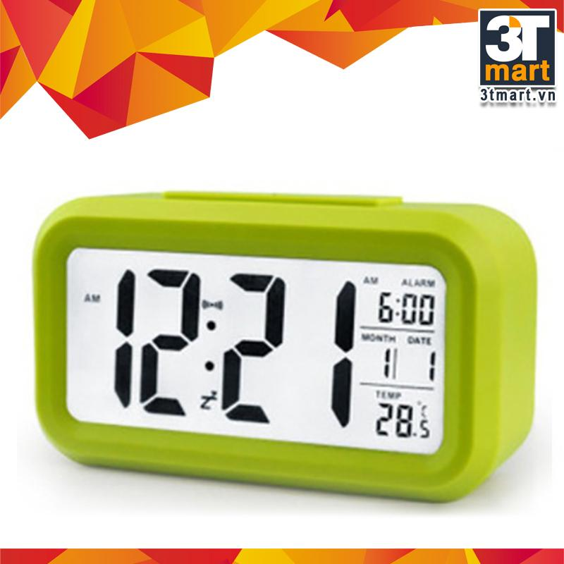 Nơi bán Đồng hồ báo thức kỹ thuật số với đèn LED nền cảm biến đa chức năng: thời gian, lịch, báo thức, nhiệt độ - LC01 (Xanh lá)