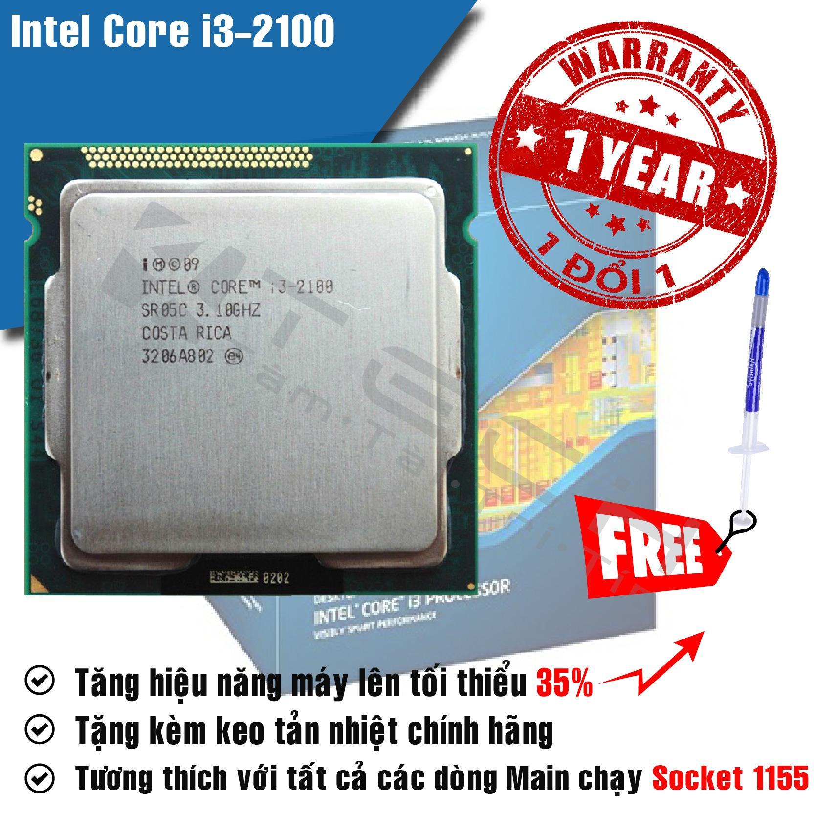 Hình ảnh Bộ Vi Xử Lý Intel Core i3 2100 3.1GHz(2 lõi, 4 luồng), Bus 1066/1333MHz, Cache 3MB - Tặng Keo Tản Nhiệt.