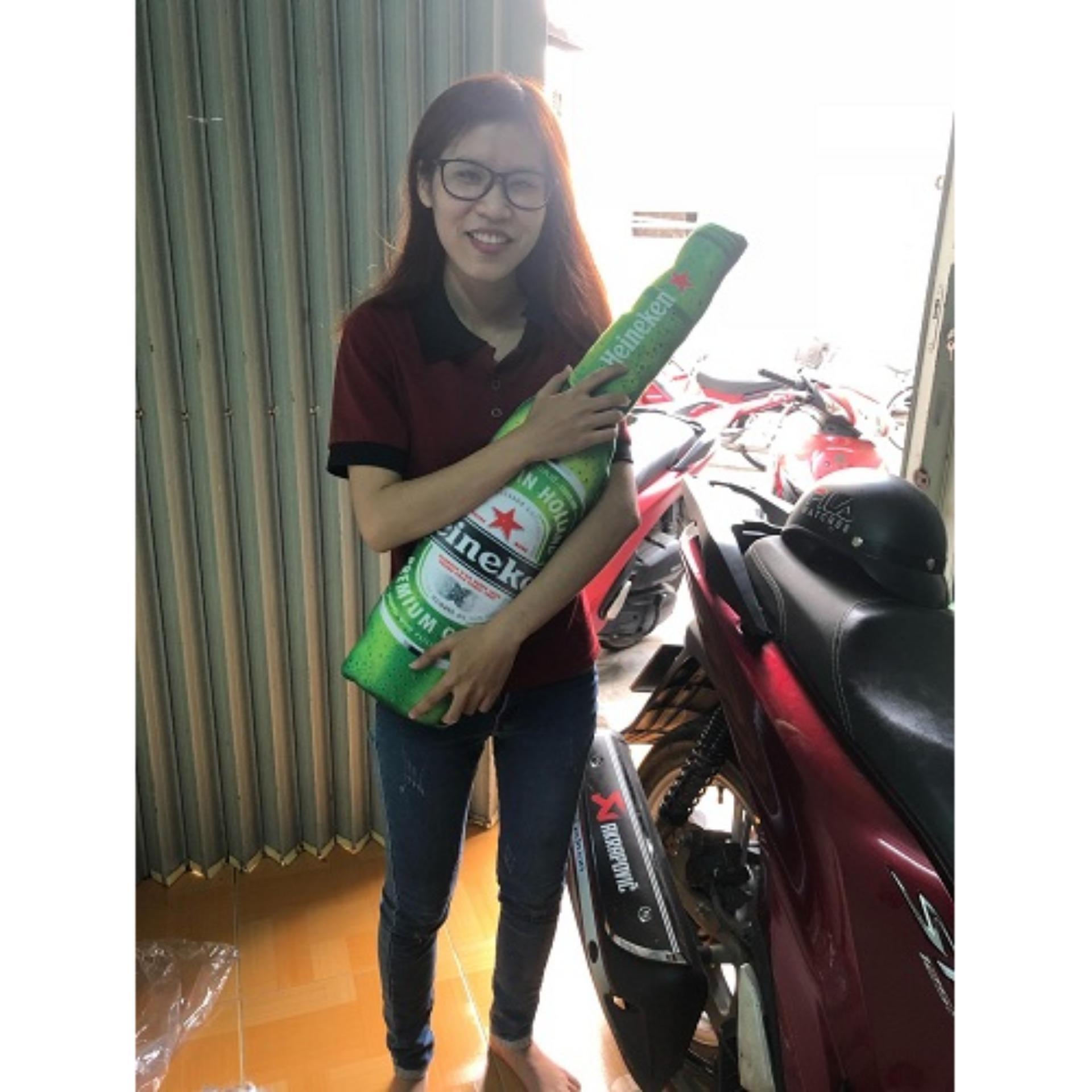 Giá Bán Rẻ Nhất Bộ 2 Gối Om 3D Hinh Ca Chep Va Chai Bia Heineken
