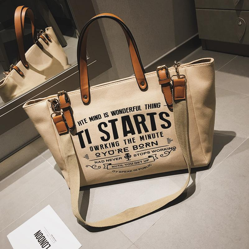 INS Ultra-Fire Canvas Bag Shoulder Bag Female 2019 New Style Fashion Versatile Large Capacity Portable Shoulder Bag Big Book Bags