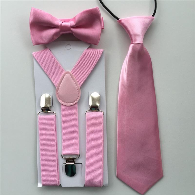 b4472c181c74 Pink Color Classic Solid Colors Kids Boys Suspenders Bowtie Ties Set  Adjustable Elastic Straps Apparel Accessories