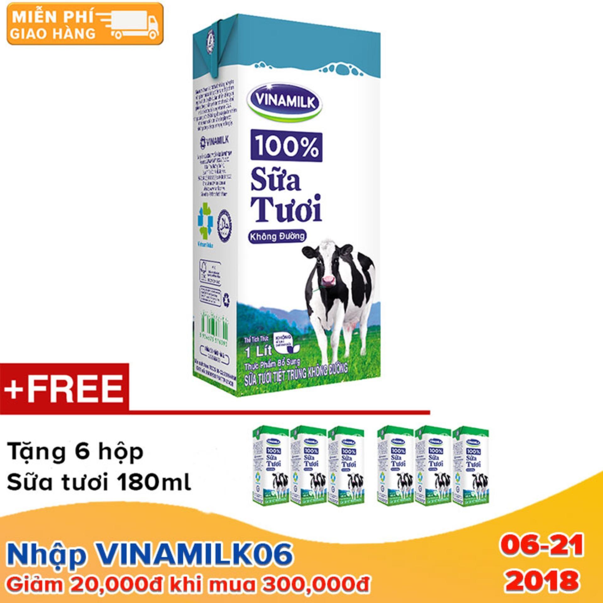 Thùng 12 Hộp Sữa tươi tiệt trùng Vinamilk 100% Không đường 1L (Hộp giấy) +Tặng 6 hộp sữa tươi Vinamilk 100% 180ml