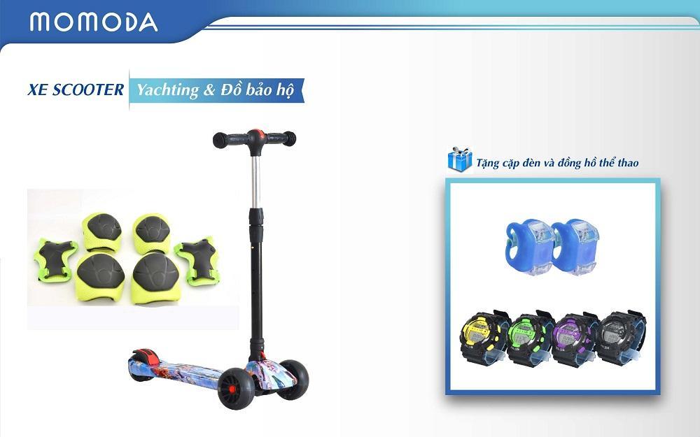 Xe Scooter Yachting+ đồ bảo hộ+ tặng đèn cặp và đồng hồ thể thao