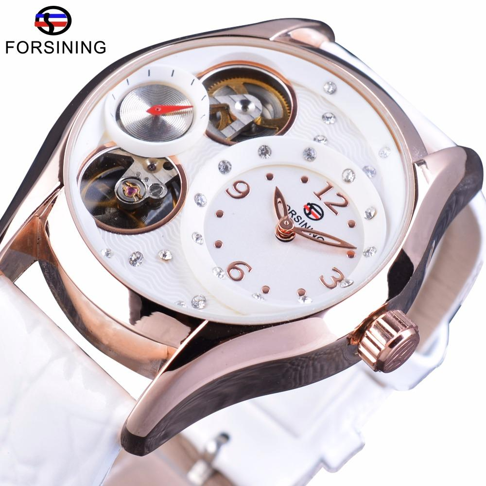 Forsining GMT1023-1 White Genuine Leather Ladies Fashion Tourbillion Luxury Small Second Dial Design Women Fashion Dress Rhinestone Watch Malaysia