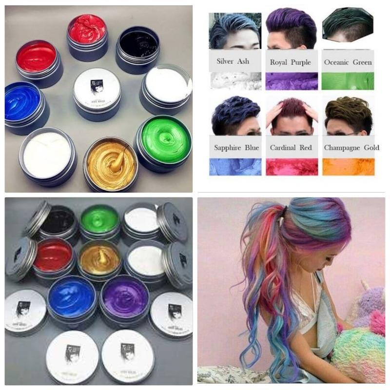 Hình ảnh sáp vuốt tóc tạo màu 8 màu tùy chọn màu cafe - màu cafe - màu bạch kim - màu đỏ - màu xanh rêu - màu xanh dương- màu vàng - màu tím