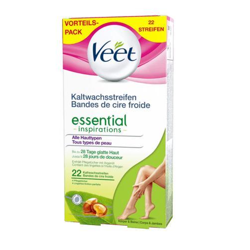 Hộp 22 miếng dán tẩy lông Veet Essential - Đức