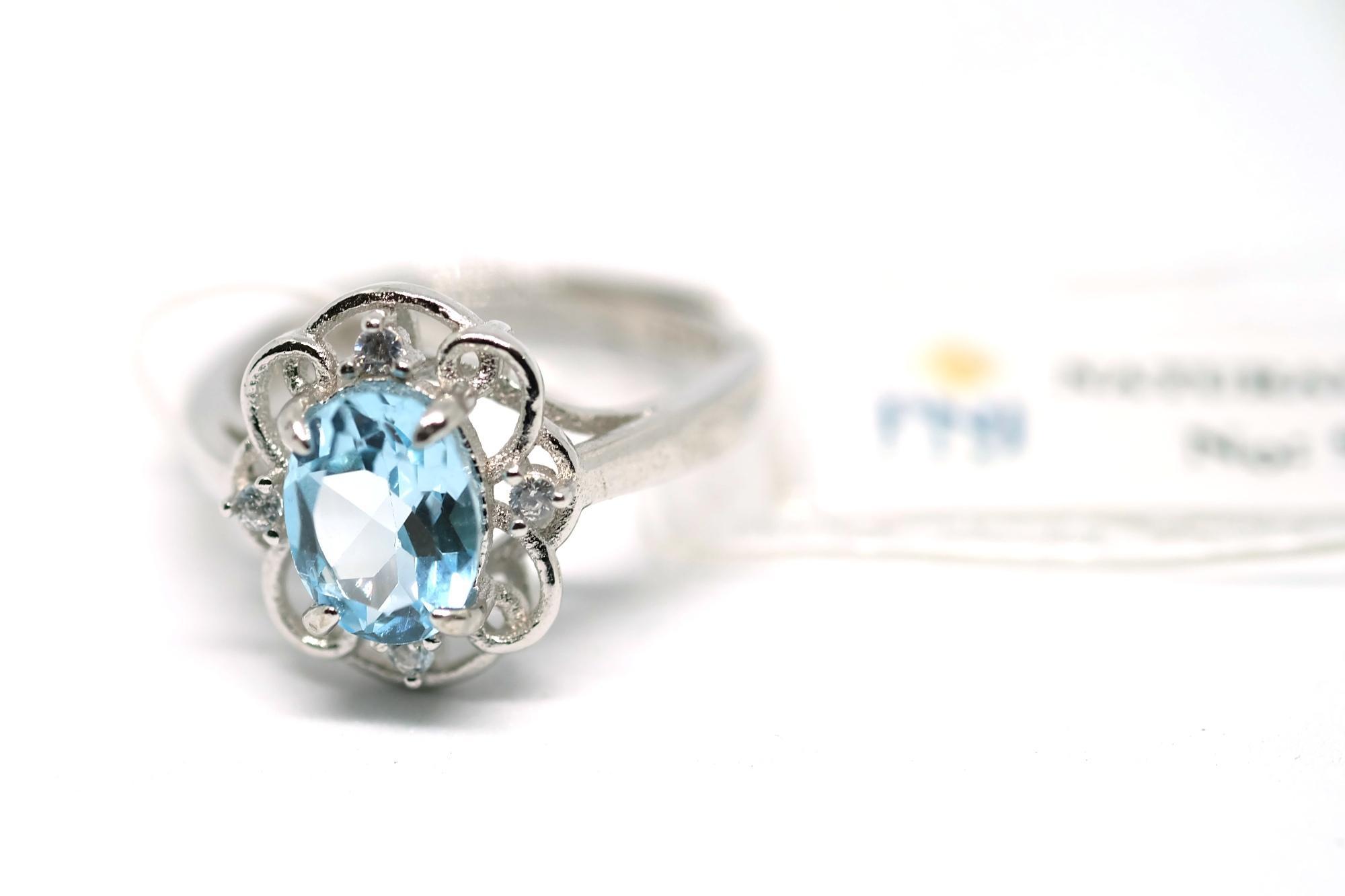 Nhẫn bạc 925 đính đá Topaz thiên nhiên kiểm định PNJ 99403