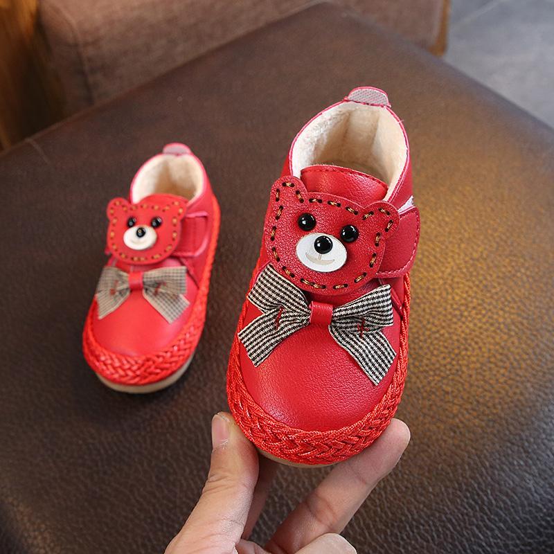 2018 musim dingin model baru Gaya Korea anak prempuan sepatu bot pendek Imut Kartun sepatu putri
