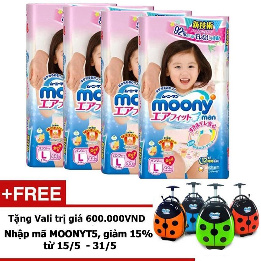 Bộ 4 Tã quần Moony L44 bé gái -Tặng Vali con bọ trị giá 600.000 VND