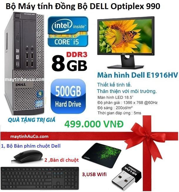 Hình ảnh Bộ Máy Tính Đồng Bộ Dell Optiplex 990 (Core i5 / 8G / 500g) , Màn Hình Dell 18,5inch (Đen), Tặng Bàn phím chuột Dell , USB Wifi , bàn di chuột ,Bảo hành 24 tháng