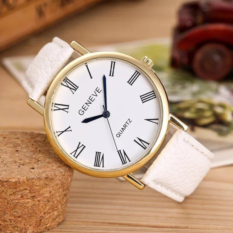 Hình ảnh Đồng hồ nam giá rẻ Geneve cá tính (Dây Đen, Mặt Trắng)