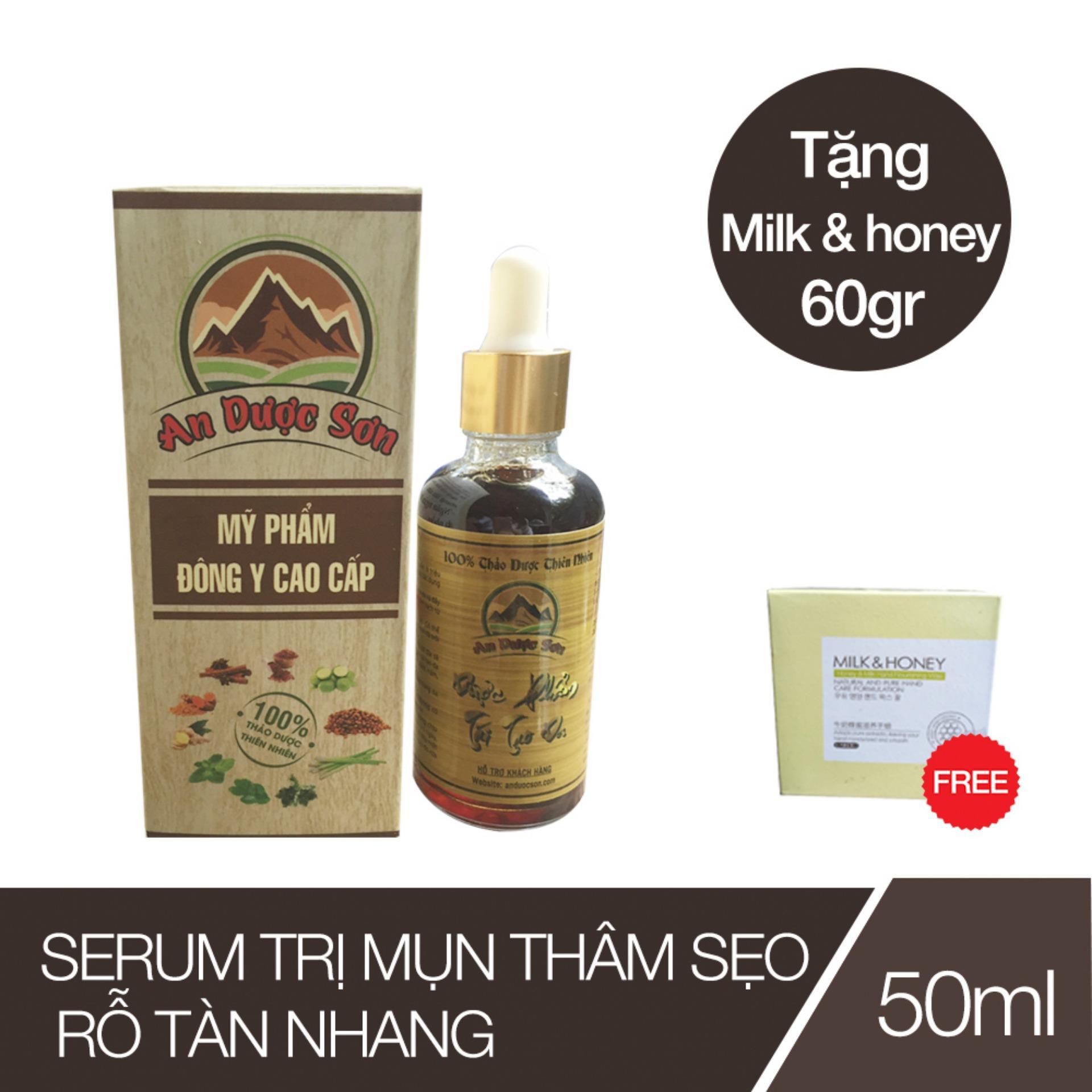 Serum trị mụn thâm sẹo rỗ An Dược Sơn - Chai 50ml (Tặng 01 Kem Trắng Da Korea) nhập khẩu