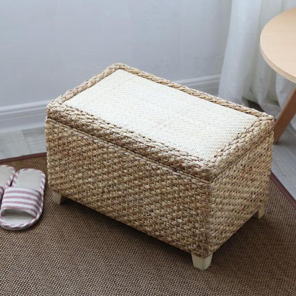 American Rattan Storage Chair Hall Footstool Tailstock Footstool Solid Wood Organizing Storage Box Stool Storage Sofa Stool