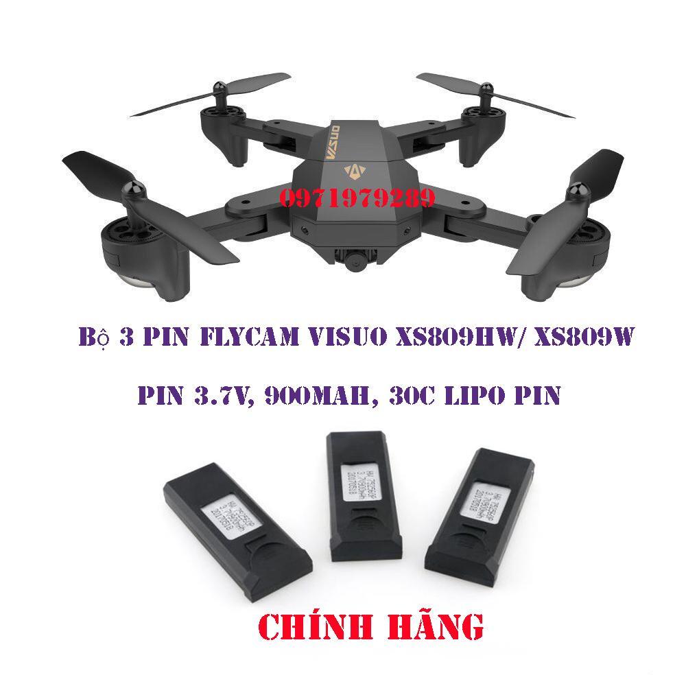 Hình ảnh Bộ 3 Pin FLYCAM Visuo XS809 / XS809HW 3.7v 900mAh