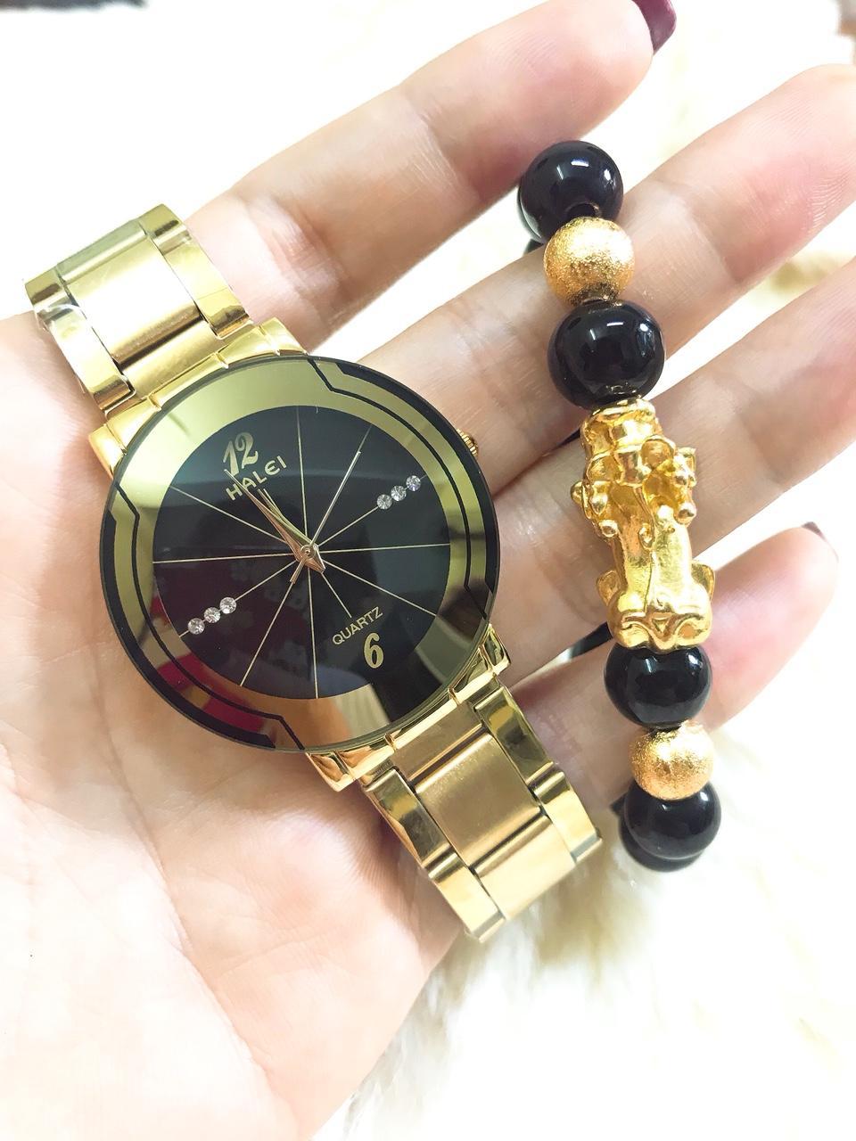 Đồng hồ nam Halei dây thép- TẶNG 1 vòng tỳ hưu phong thủy may mắn (dây vàng mặt đen) bán chạy