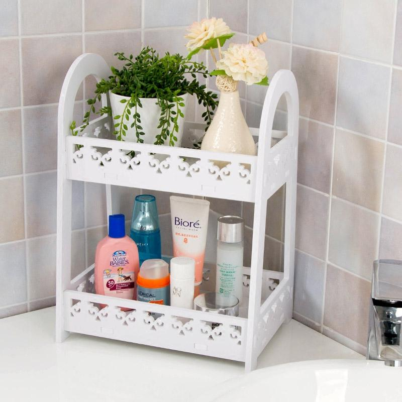 Ju la casa Double Layer Storage Shelf Dormitory Desktop Cosmetics Shelf Dormitory Useful Product Terrace/Patio Landing Multilayer Storage Rack