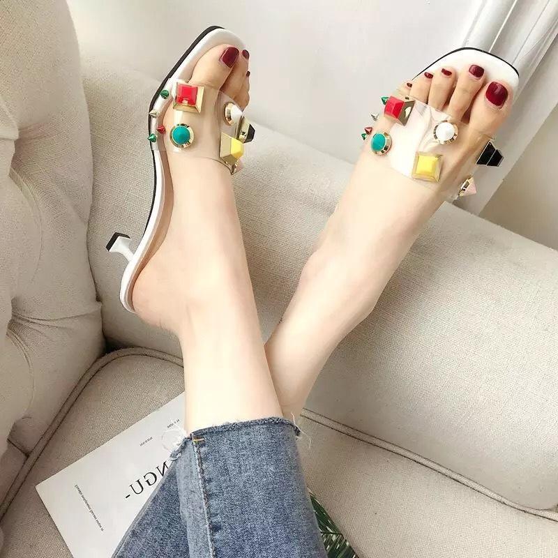Giày cao gót_Dép hè Quảng Châu quai ngang trong đính đá mẫu mới hot nhất 2018 phong cách Hàn Quốc siêu khuyến mãi