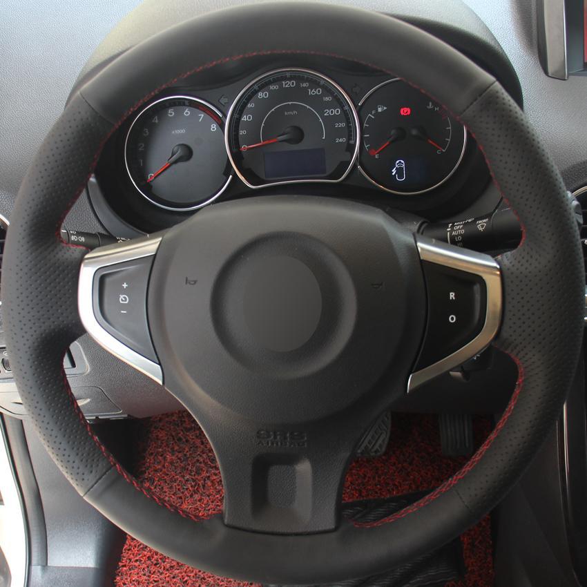 Hitam Kulit Jahitan Tangan Roda Kemudi Mobil Cover untuk Renault Koleos 2009-2014 Renault Koleos 2009-2014 Samsung QM5 (Abu-abu Benang) -Intl
