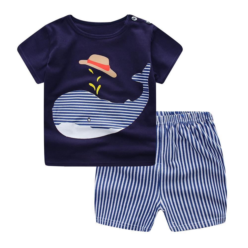 2 Pcs Baby Kids Clothes Set Cartoon T-shirt + Shorts Casual Set