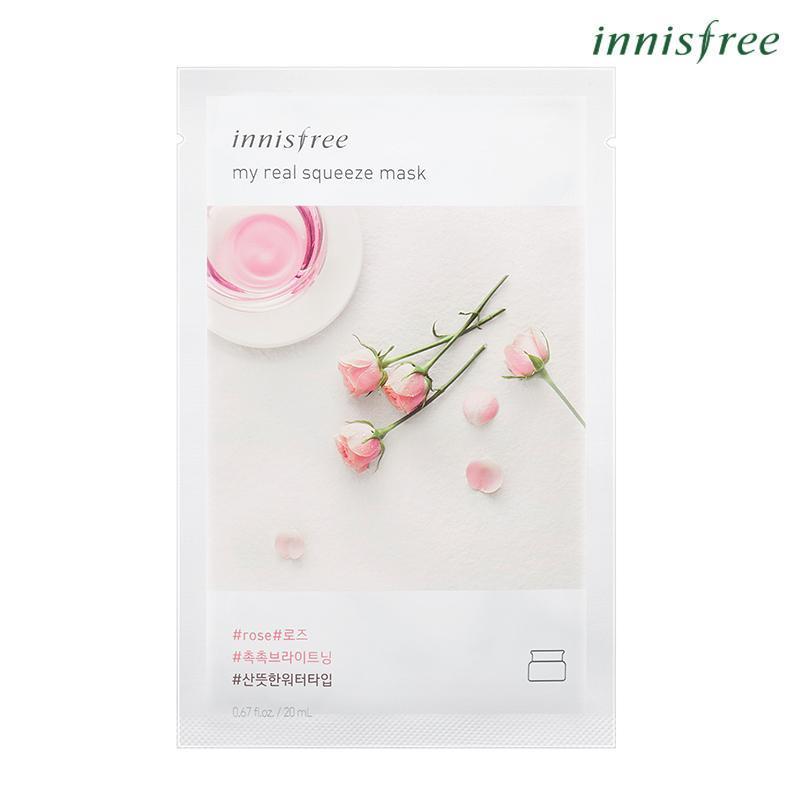 Mặt nạ giấy cấp nước & làm sáng da từ hoa hồng Innisfree My Real Squeeze Mask - Rose 20ml
