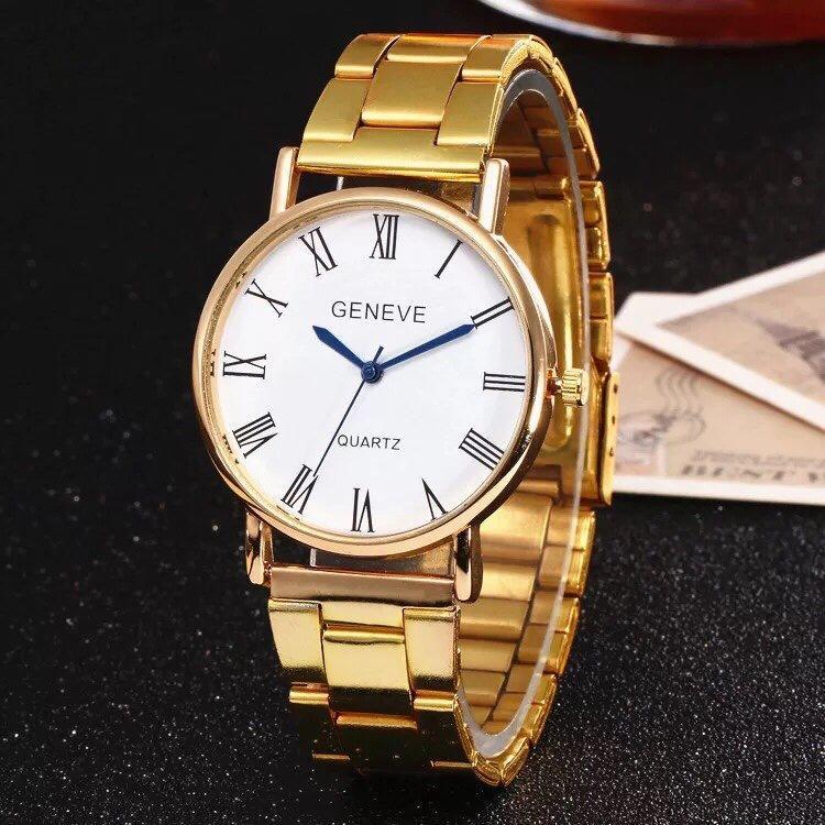 Hình ảnh Đồng hồ nam dây thép giá rẻ Geneve cá tính (Dây Vàng, Mặt Trắng)
