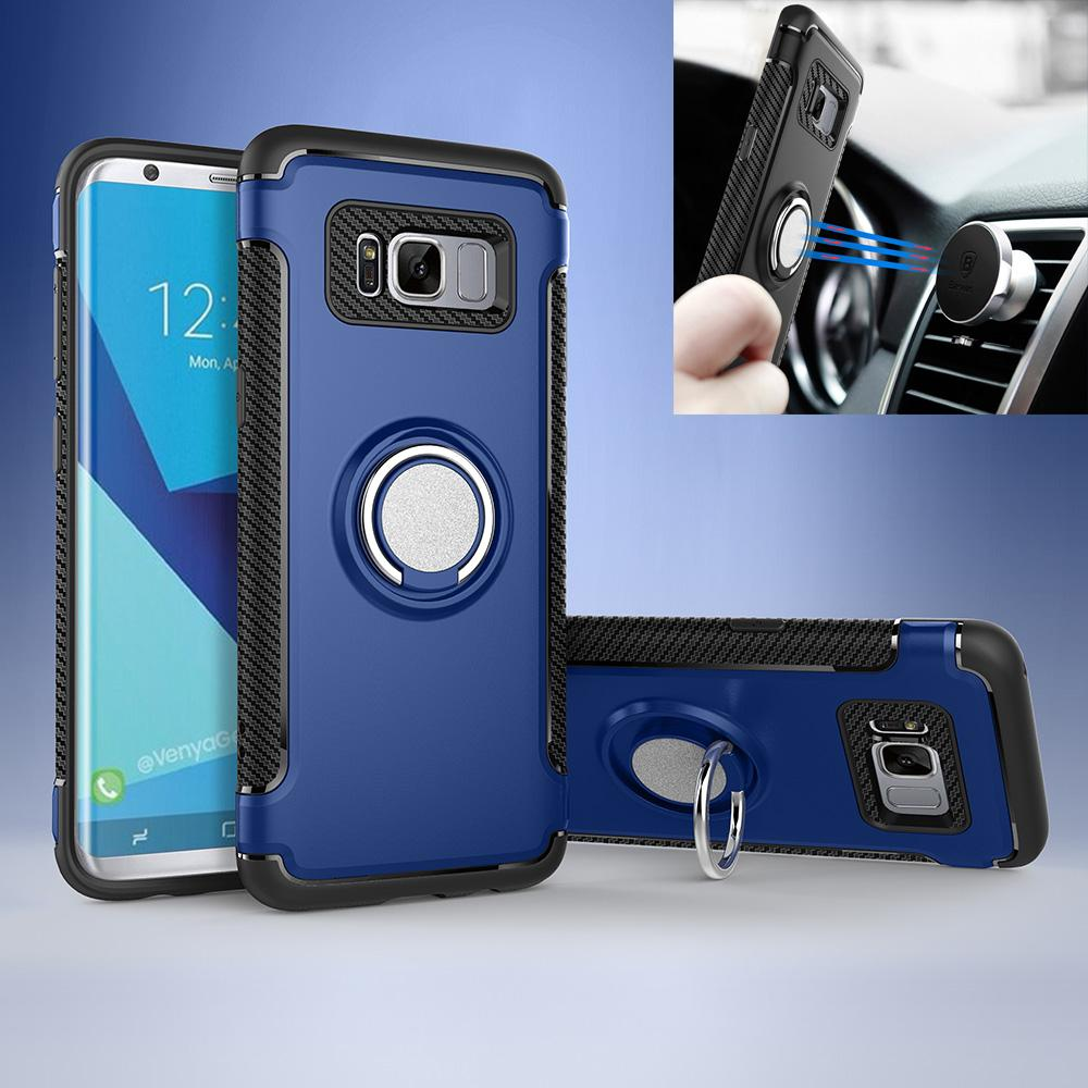 SHUNJIA Luxury Shockproof S8 Case with Metal Ring Holder Car Stand Magnet Suction Bracket Finger Ring