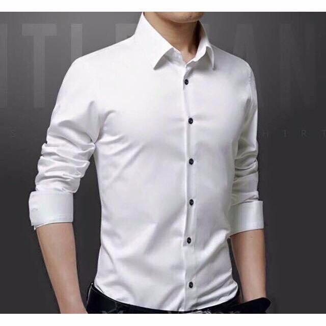 Hình ảnh Áo sơmi nam vải lụa nến Thái (màu trắng) chống nhăn
