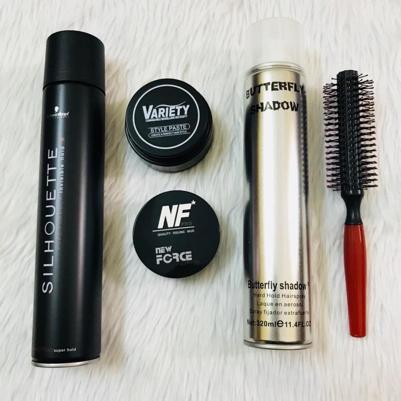 Combo sáp vuốt tóc Variety + Newforce + gôm Butterfly + Silhouette + lược tròn