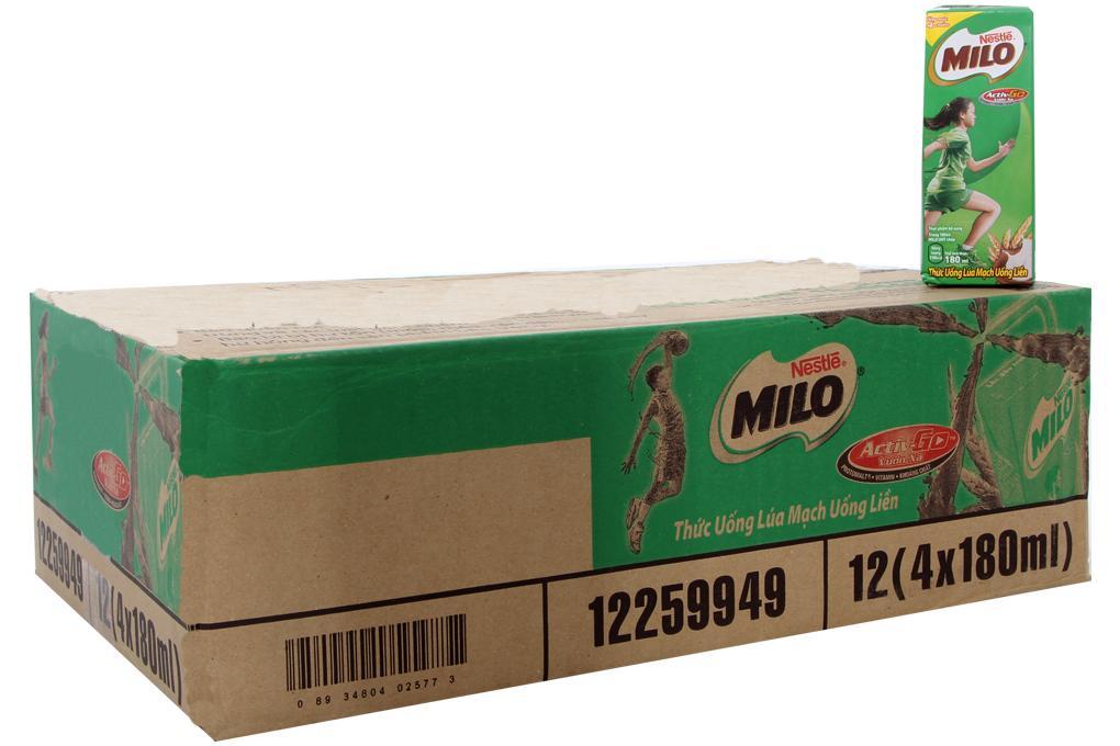 Thùng sữa Milo Nestlé hộp 180ml (48 hộp)