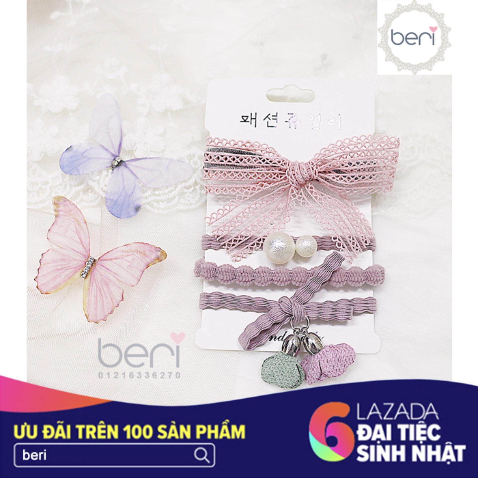 Combo 4 cột tóc Hàn Quốc BERI (hồng) - CT027