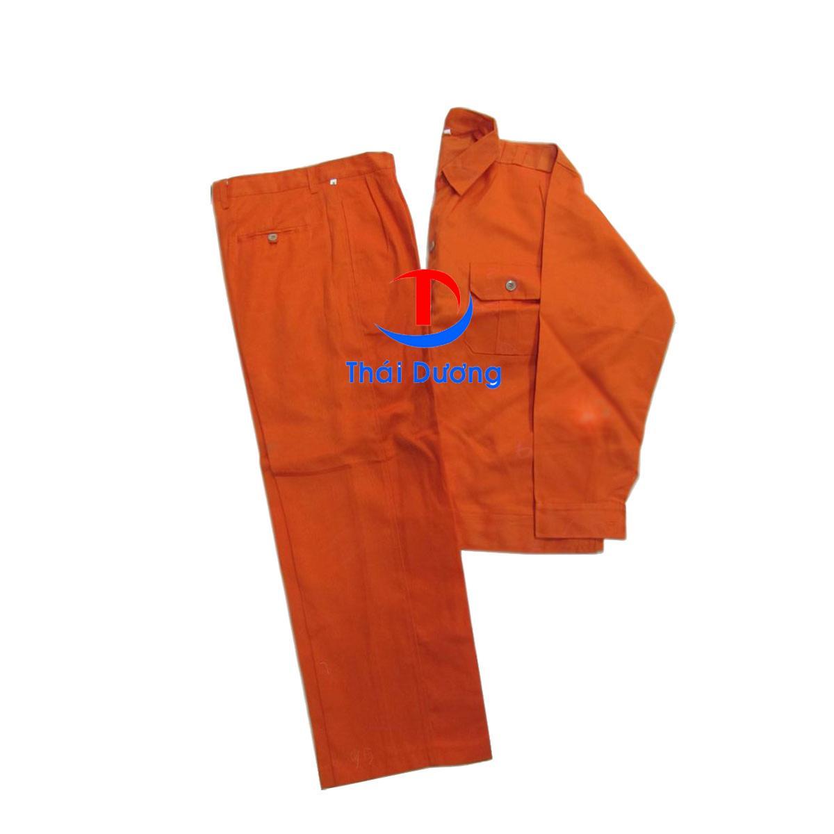 Bộ quần áo bảo hộ lao động Kaki ngành điện Cam size 8 (XL)