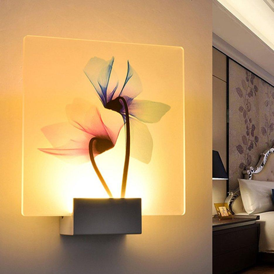 Hot Sellers Simple LED Wall Lamp Transparent Flower Printed Hotel Light