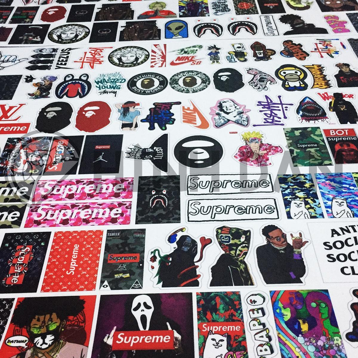Hình ảnh Bộ Sticker Chủ Đề Hypebeast, Bape, Supreme (2018) Hình Dán Decal Chất Lượng Cao Chống Nước Trang Trí Va Li, Xe, Laptop, Nón Bảo Hiểm, Máy Tính, Tủ Quần Áo