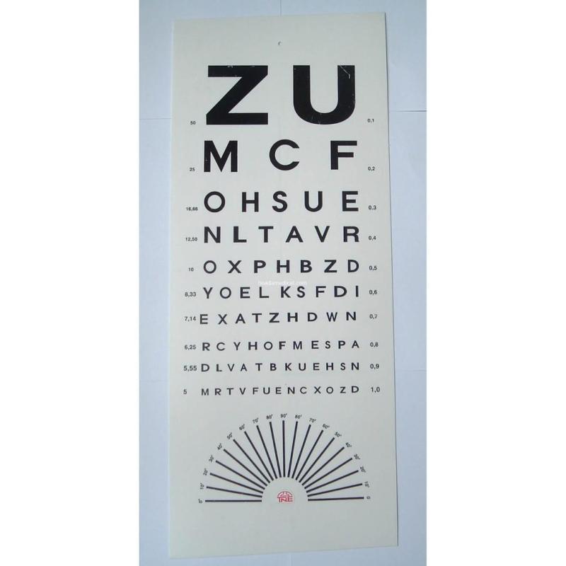 Bảng đo thị lực chữ ZU, kiểm tra tật khúc xạ