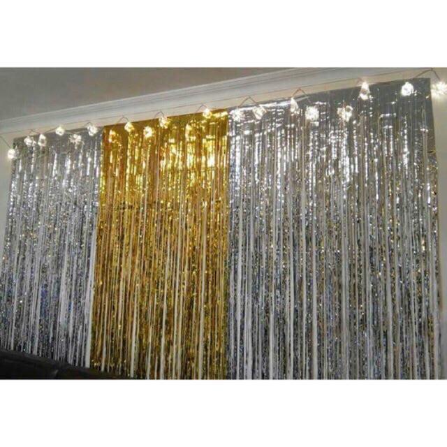 Hình ảnh Rèm kim tuyến ( MÀU VÀNG ) trang trí background các tiệc sinh nhật , đám cưới ,khai trương