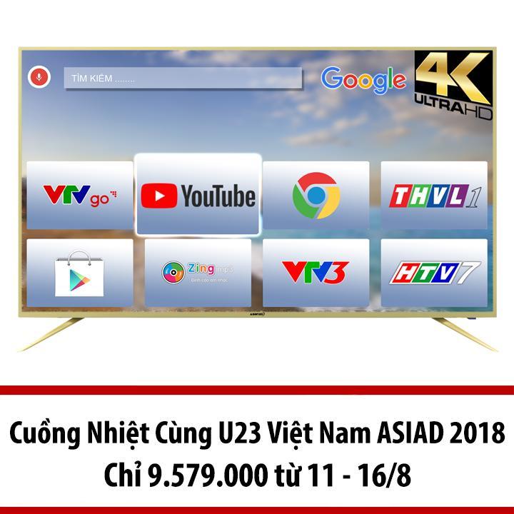Hình ảnh Smart Tivi Led 50 inch Asanzo Ultra HD 4K Voice Search - Model 50AU6100 (Vàng Nhạt) (NEW 2018) Ra lệnh bằng giọng nói