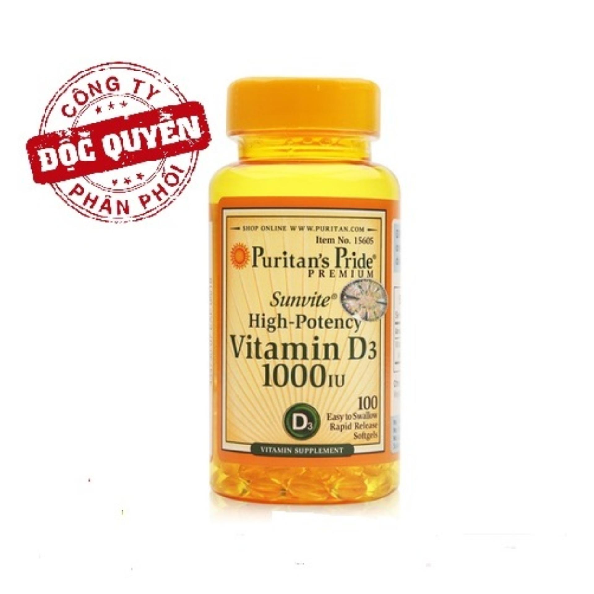 Viên uống bổ sung Vitamin D tăng cường hệ miễn dịch, phòng chống còi xương Puritans Pride Sunvite High-Potency Vitamin D3 1000IU 100 viên