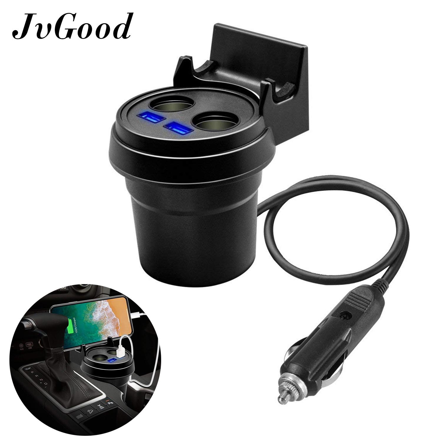 Jvgood Car Cup Charger 3 In 1 Quick Charge Travel Cup Holder 12v-24v 3.1a 2 Port Usb Chargers & 2 Car Charger Sockets & Free Phone Holder With Led Display Measuring Car Voltage For Multiple Devices By Jvgood.