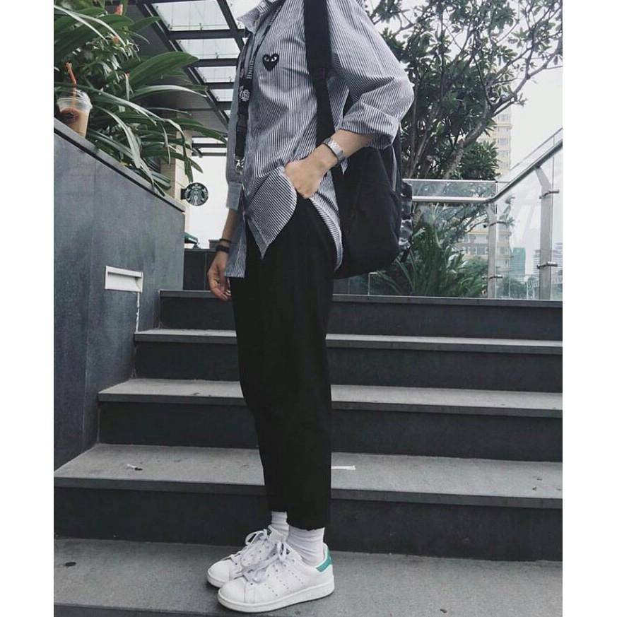 Hình ảnh [ Tặng vớ ] QUẦN BAGGY PANTS x SƠ MI TIM SỌC