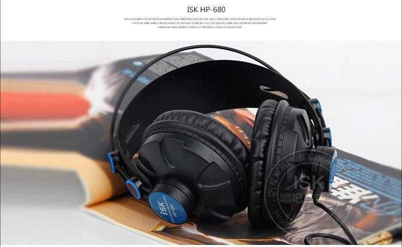 ISK HP-680 Headset Canggih Headphone Tertutup Sepenuhnya Headset DJ Rekaman K Lagu Berat Bass
