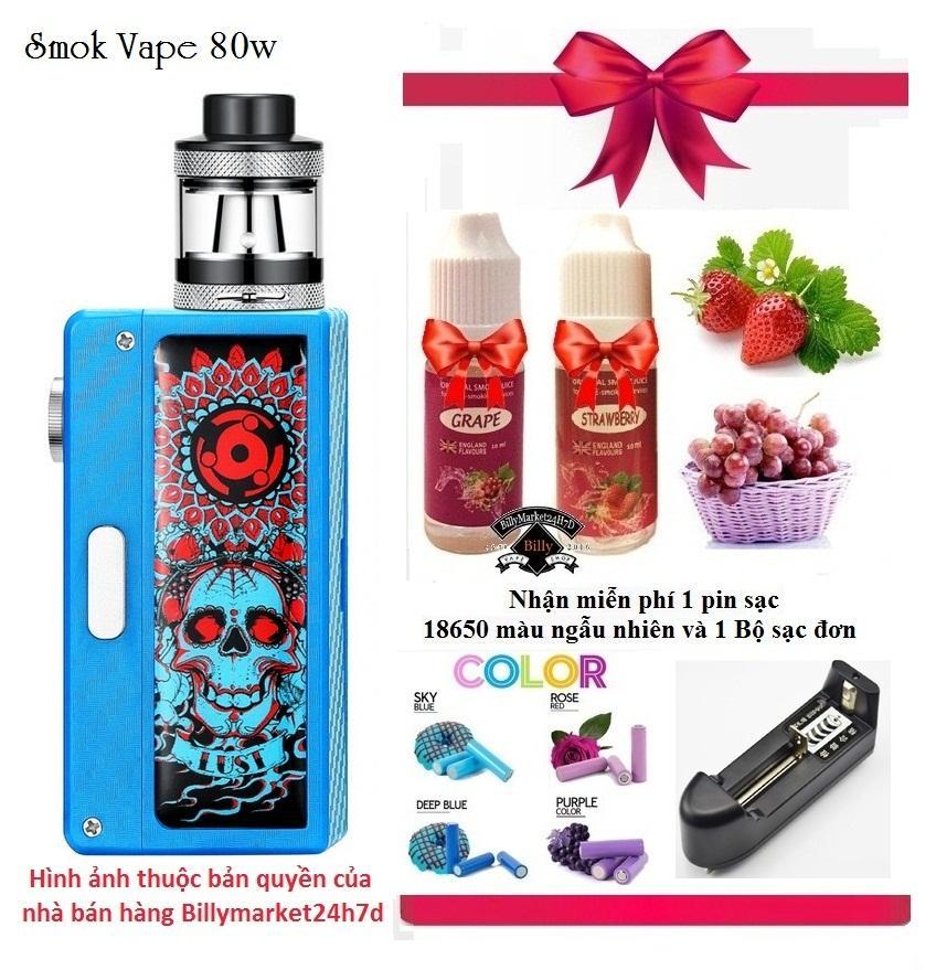 Bộ Vape / Shisha SMOK VAPE 80w Siêu Khỏe với buồng đốt Coil Occ siêu khói + Shop tặng kèm 2 lọ tinh dầu Vị Dâu và Nho + 1 Pin sạc 18650 + 1 Bộ sạc ngoài (Xanh)