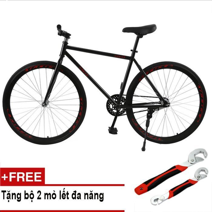 Xe đạp Fixed Gear Air Bike MK78 (đen) + Tặng bộ 2 mỏ lết đa năng