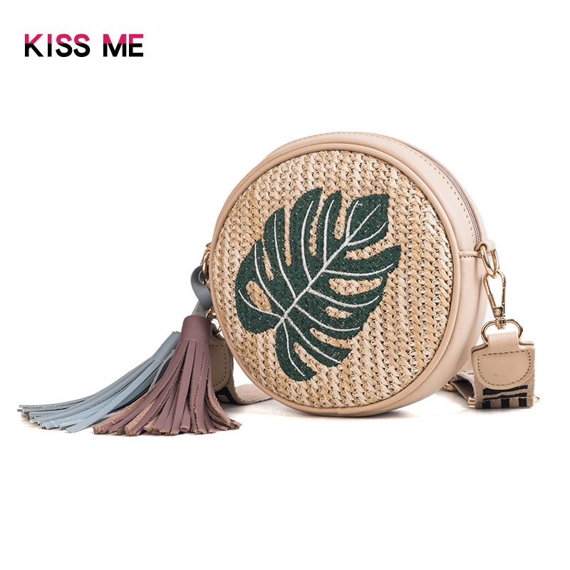 KISS ME Tas perempuan 2019 model baru tas bulat kecil Jerami bordir rumbai .