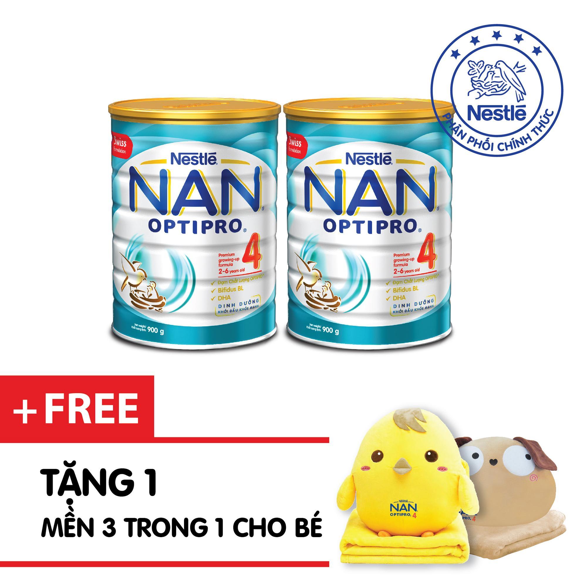 Bán Combo 2 Lon Sữa Bột Nestle Nan Optipro 4 900G Tặng 1 Bộ Gối Mền Cực Xịn Trong Hồ Chí Minh