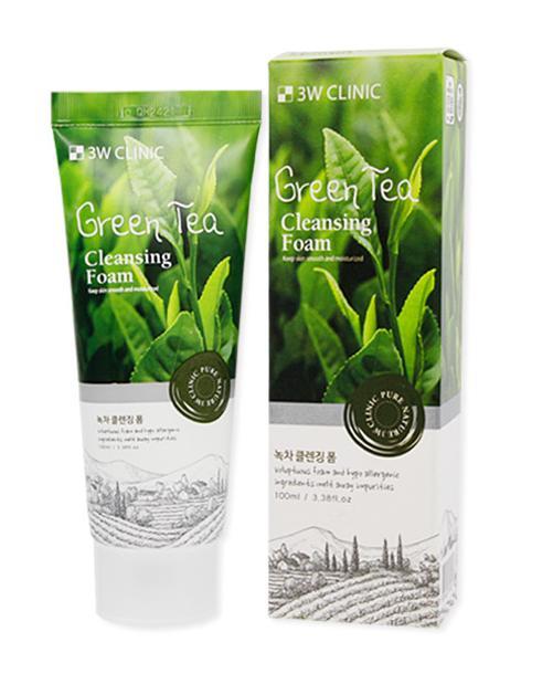SỮA RỬA MẶT CHIẾT XUẤT TRÀ XANH 3W CLINIC GREEN TEA FOAM CLEANSING MẪU MỚI 2017 - 100ML nhập khẩu